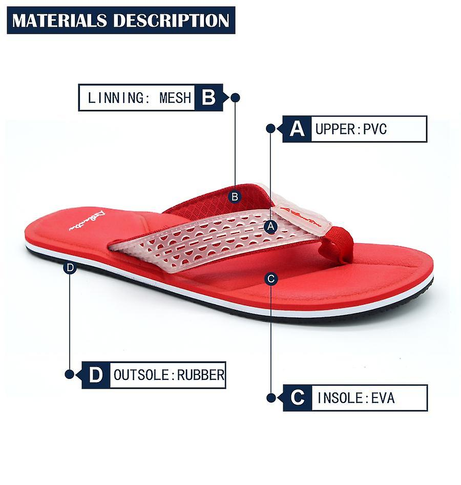 Atlantis Shoes Men Supportive Cushioned Comfortable Sandals Flip Flops Simply Colorful Red