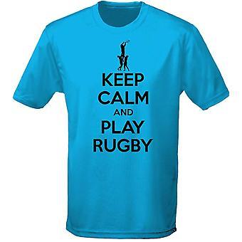Hålla lugn och spela Rubgy Mens T-Shirt 10 färger (S-3XL) genom swagwear