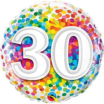 Folienballon Geburtstag Zahl 30 Konfetti circa 45cm