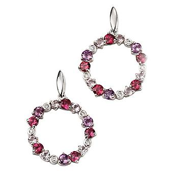 Elements Gold Multi Garnet Circle Earrings - Purple/Red/White Gold