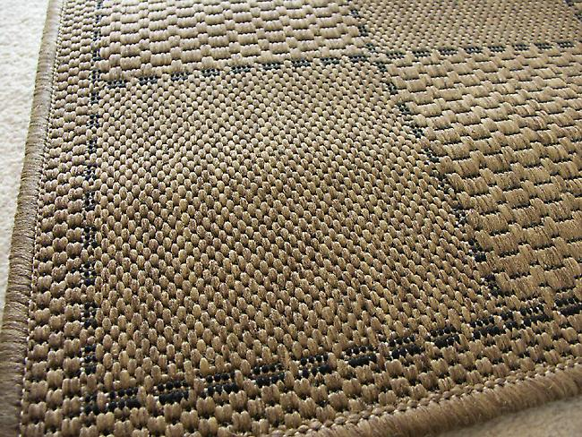 Checked Flatweave Natural Dark beige Runner Rugs Plain/Nearly Plain Rugs