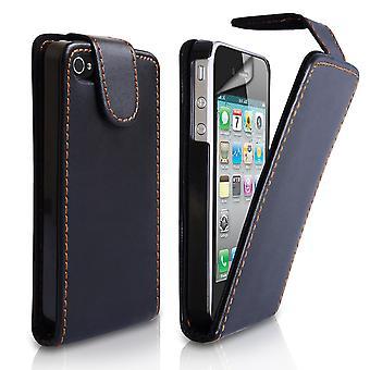 Yousave Accesorios iPhone 4 y 4s efecto cuero Flip Case - negro