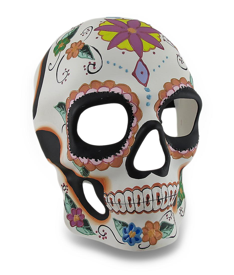 Colorful Floral Design Day Of The Dead Sugar Skull Mask Wall
