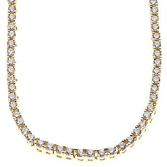 Iced out bling zirconia stainless steel TENNIS necklace - 4mm gold