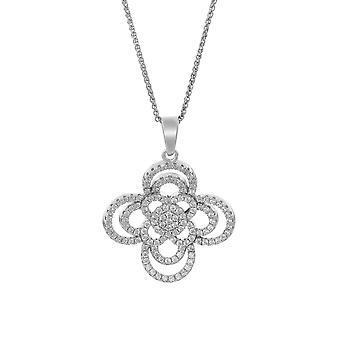 Orphelia plata 925 cadena con colgante flor con circonio ZH-7310