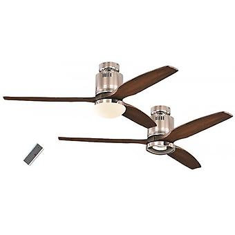 Ceiling Fan Aerodynamix polished chrome / walnut with and without light