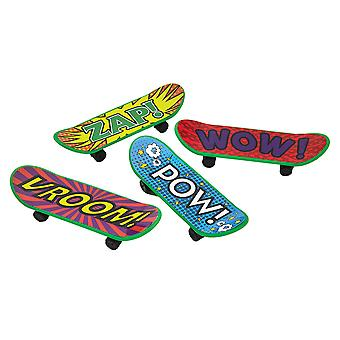 4 Pop-Art Plastic Finger Skateboard Toys - Kids Party Bag Fillers