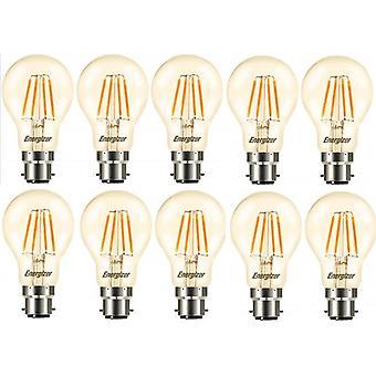10 X Energizer GLS Globe Antique Gold Finish LED Filament Energy Saving Light Bulb B22 BC Bayonet Cap Fitting [Energy Class A+]