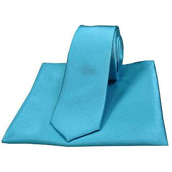 David Van Hagen Satin Thin Tie and Pocket Square Set - Turquoise