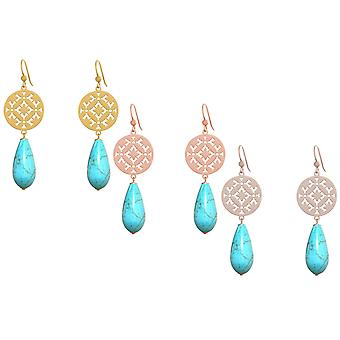 GEMSHINE ladies earrings with Mandalas and turquoise gemstone drops. Earrings made of 925 Silver, gold plated or gold plated rose. Made in Munich, Germany. Delivered in an elegant gift case.