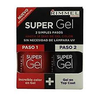 Rimmel Super Gel estuche 12ml esmalte de uñas 12ml felizmente Evi + la capa superior de 12ml