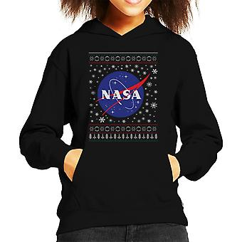 The NASA Classic Insignia Christmas Knit Pattern Kid's Hooded Sweatshirt