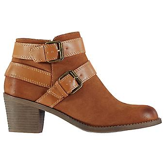 Dolcis Womens Quincy Boots Heeled Ankle Zip Strap Buckle Distressed Tonal