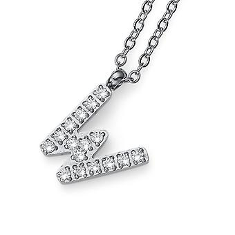 Oliver Weber Pendant Initial W Steel CZ Crystal