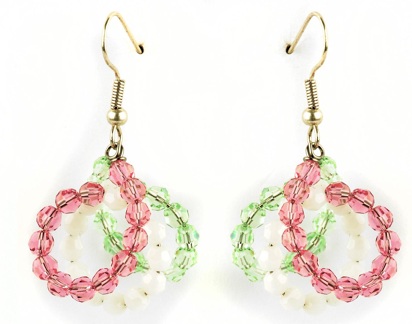 Waooh - Fashion Jewellery - WJ0772 - On Earrings with Swarovski Pink & White - Frame Color Silver