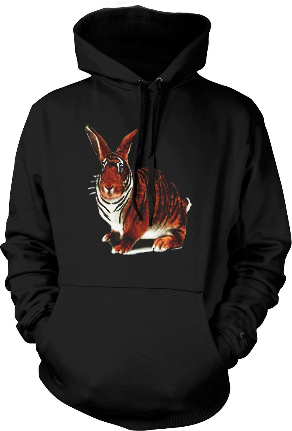Mens Hoodie - Tiger Lapin Pop Art Design