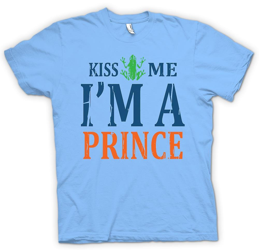 Heren T-shirt - Kiss Me Im A Prince - grappig