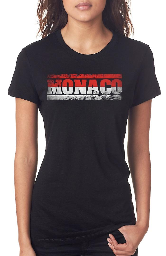 Monaco Flag - Words Ladies T Shirt