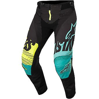 Alpinestars svart-Teal-fluorescerende 2018 Techstar Screamer MX bukse