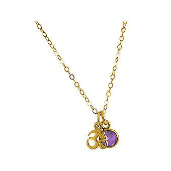 Gemshine YOGA Meditation Ohm Halskette aus 925 Silber, vergoldet oder rose. 1,3 cm Anhänger mit lila Amethyst. Nachhaltiger, qualitätsvoller Schmuck Made in Spain