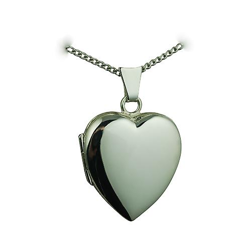 Silver 21x19mm plain heart shaped Locket with a curb Chain 18 inches