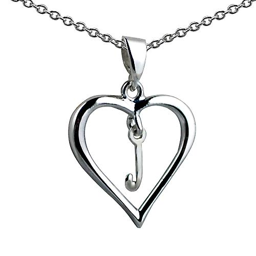 Silver 18x18mm initial J in a heart with rolo chain