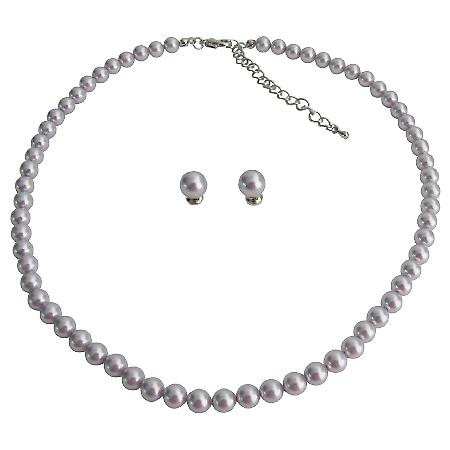 Style Is Simple w/ The Lavender Pearl Necklace & Stud Earrings Set