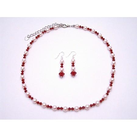 Coral Crystals Jewelry Set w/ Rose Pink Pearls Swarovski Necklace Set