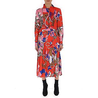 Msgm Red Silk Dress