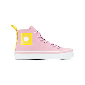 Kenzo K-street Pink Cotton Hi Top Sneakers