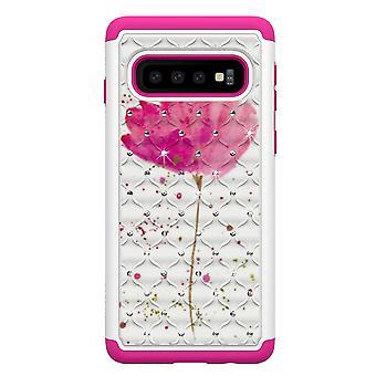 Samsung Galaxy S10 TPU coque armure supplémentaire Durable-rose fleur