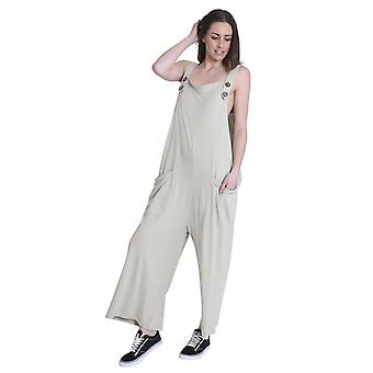 Ladies Loose Fit Cotton Jersey Dungarees - Khaki Lightweight One Size Wide Leg O