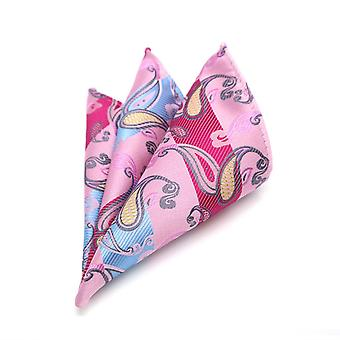 Pink & baby blue stripe with oat paisley pocket square