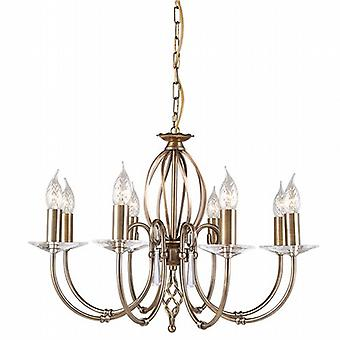 Traditional Aged Brass 8 Arm Chandelier with Cut Glass