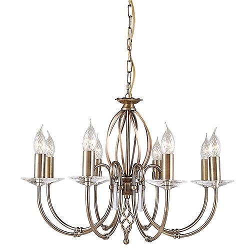 Elstead AG8 AGED BRASS Aegean Traditional Aged Brass 8 Arm Chandelier with Cut Glass