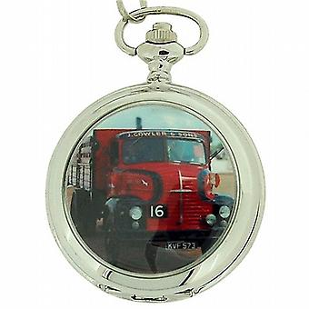 Boxx Gents White Dial Truck Pocket Watch on 12 Inch Chain Boxx92