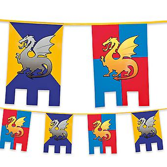 6 Metre Plastic Bunting Knights & Dragons Medieval
