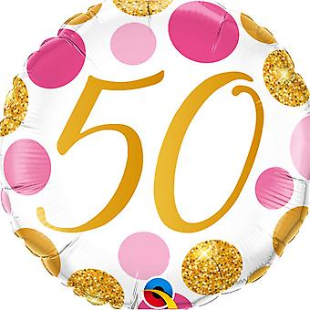 Qualatex 50 Pink & Gold Dots Round Foil Balloon