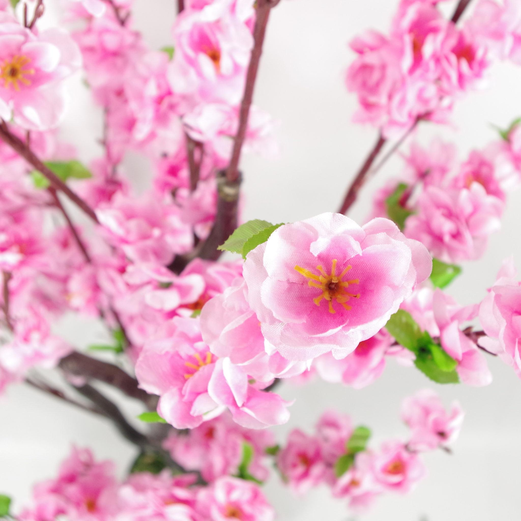 120cm Realistic Artificial Cherry Blossom Tree - Potted - Pink Silk Flowers