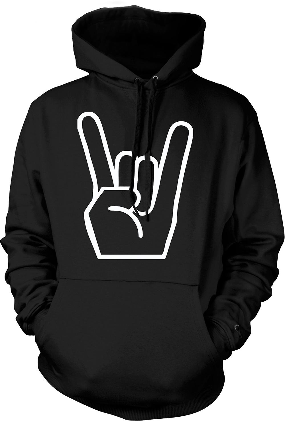 Mens Hoodie - Metal Finger Sign