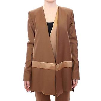 Roberto Fragata Brown Wool Silk Blazer Coat Jacket -- MOM1864453