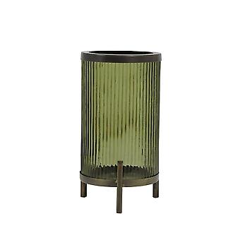 Light & Living Hurricane Ø15,5x31 Cm TIBIR Glass Olive Green+antique Bronze