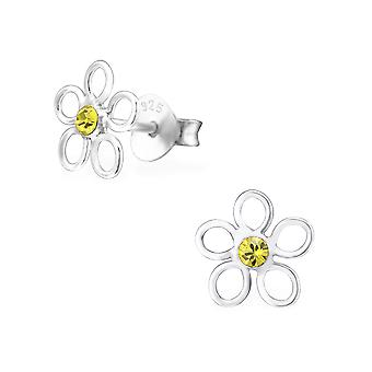 Blume - 925 Sterling Silber Crystal Ohrstecker - W26224X