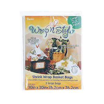 2 Clear Shrink Wrap Gift Bags for Baskets - 76cm x 76cm