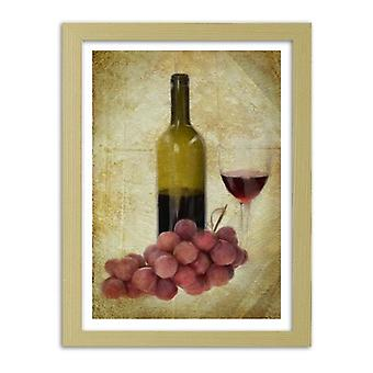 Picture In Natural Frame, Bottle Of Wine And Grapes
