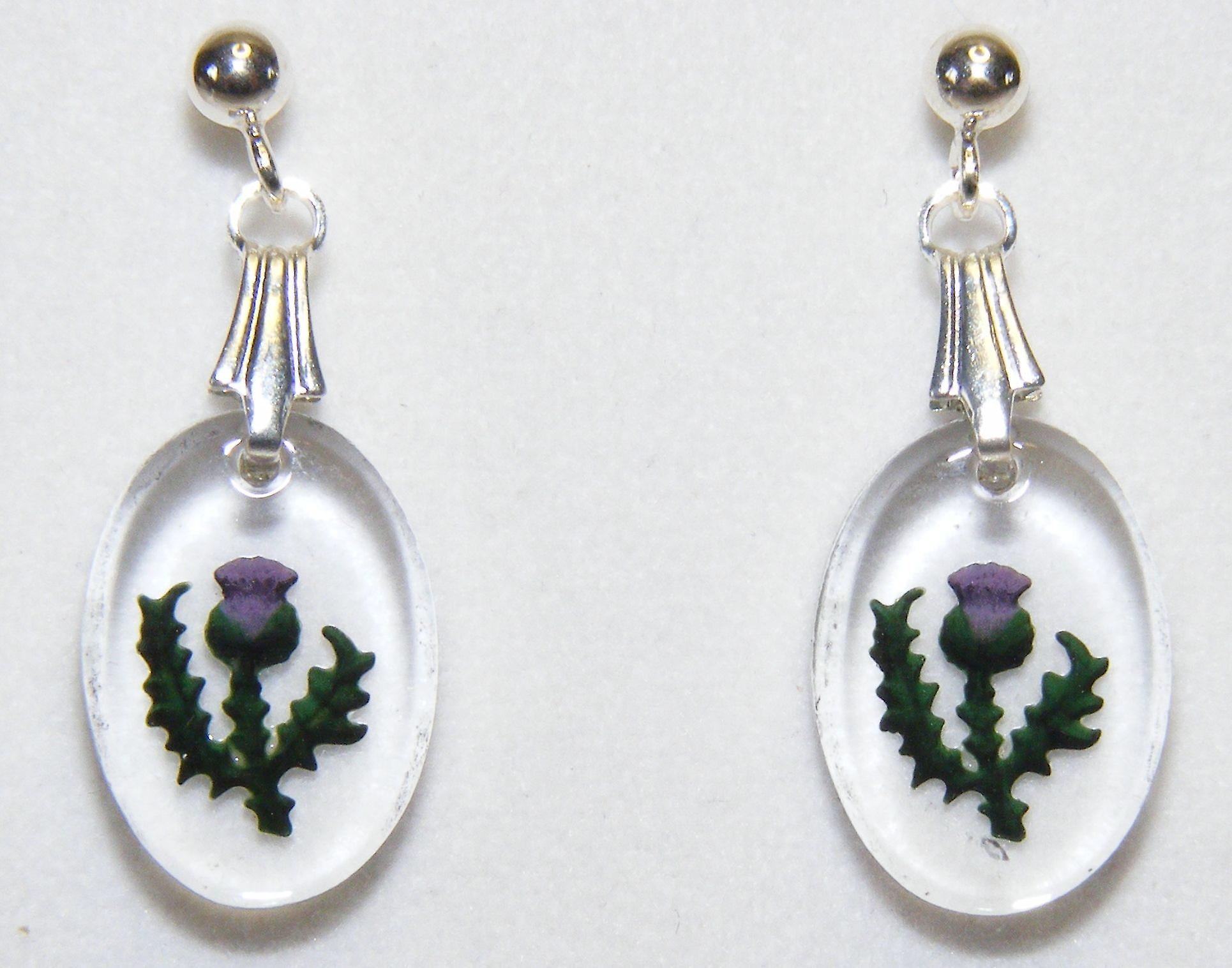 Hand Painted Thistle Oval Earrings and Small Pendant set