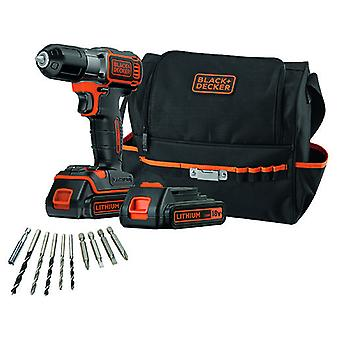 Black and Decker 18V cordless drill battery Autosense + 10 accessories
