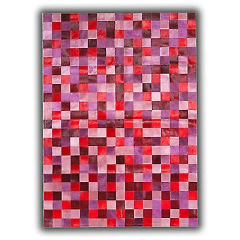 Rugs -Patchwork Leather Cubed Cowhide - Multi Red & Pink