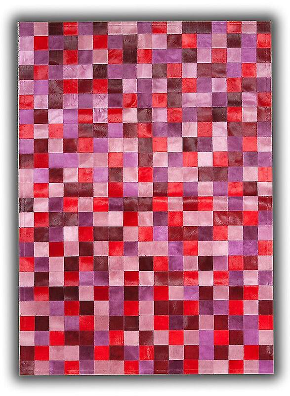 Rugs - Patchwork Leather Cubed Cowhide - Multi Red & Pink