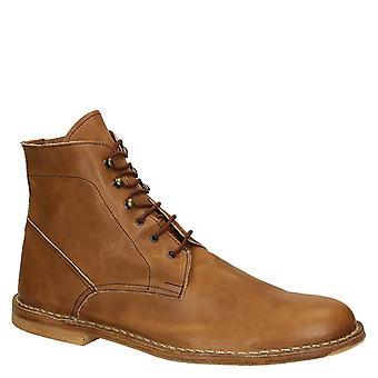 Tan calf leather men's ankle boots handmade